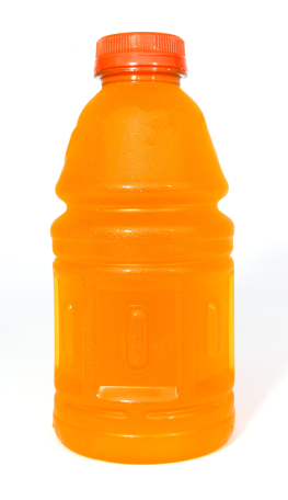 An orange sports drink bottle.